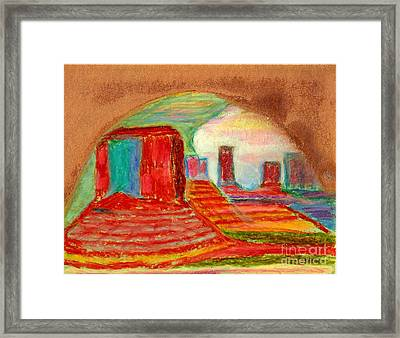Framed Print featuring the painting Monument Valley Unafraid Of The Storm by Richard W Linford