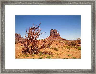 Monument Valley West Mitten Butte And Landscape Framed Print by Melanie Viola