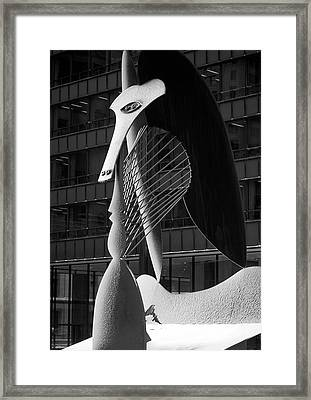 Monumental Sculpture In Front Of A Building, Chicago Picasso, Daley Plaza, Chicago, Illinois, Usa Framed Print
