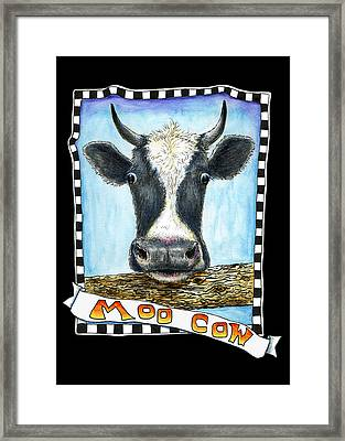 Framed Print featuring the drawing Moo Cow In Black by Retta Stephenson