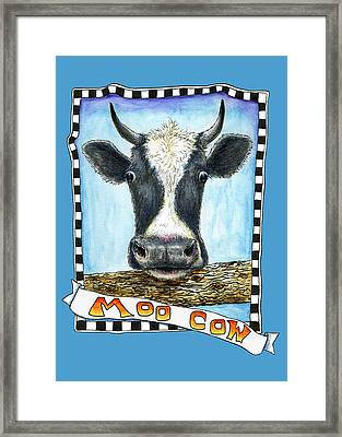 Framed Print featuring the drawing Moo Cow In Blue by Retta Stephenson