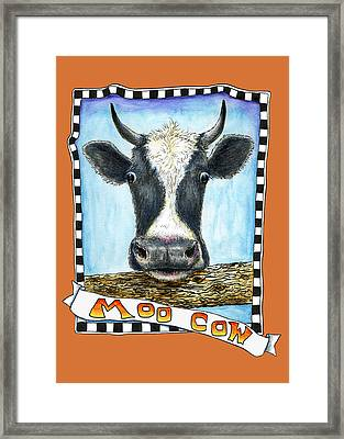 Framed Print featuring the painting Moo Cow In Orange by Retta Stephenson