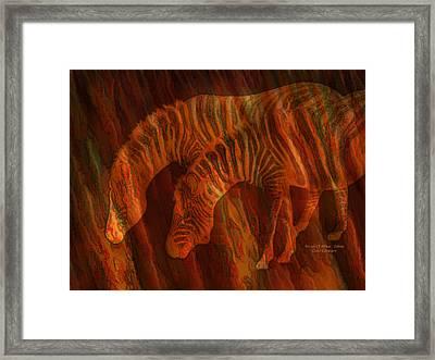 Moods Of Africa - Zebras Framed Print by Carol Cavalaris