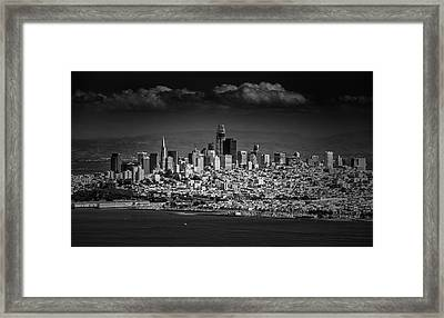 Moody Black And White Photo Of San Francisco California Framed Print by Steven Heap