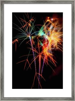 Moody Fireworks Framed Print