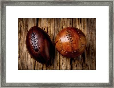 Moody Football And Soccer Ball Framed Print