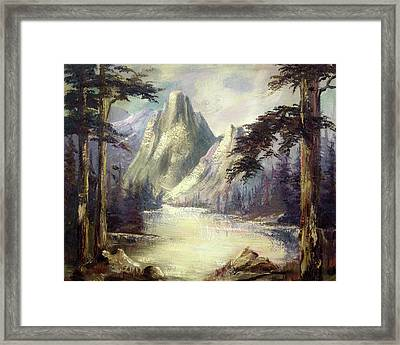 Moody Mountain Framed Print by Cathy Robertson