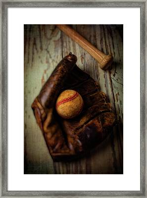 Moody Old Mitt With Bat Framed Print by Garry Gay