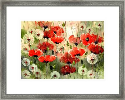 Moody Poppies In The Afternoon Framed Print