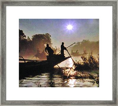 Moody River Silhouettes At Sunset Framed Print