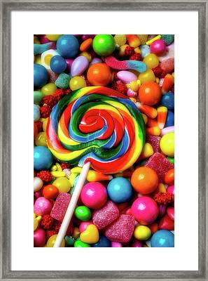 Moody Sucker And Candy Framed Print by Garry Gay