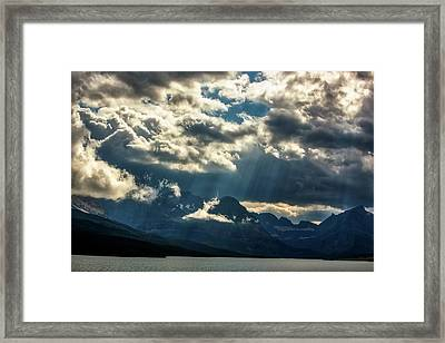 Moody Sunrays Over Glacier National Park Framed Print