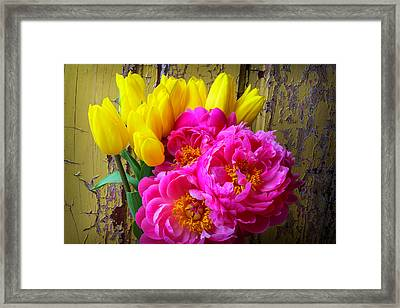 Moody Tulis And Peony's Framed Print