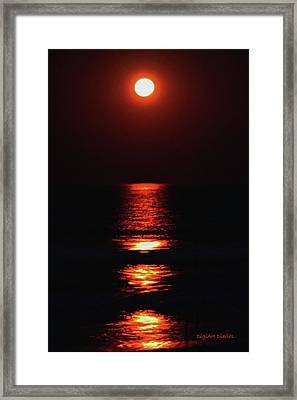 Moon Afire Framed Print by DigiArt Diaries by Vicky B Fuller