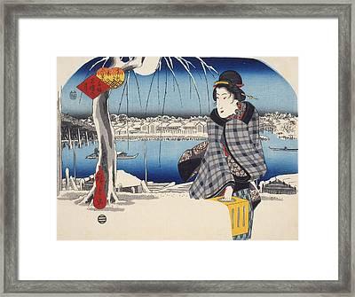 Moon After Snow At Ryogoku Framed Print by Hiroshige