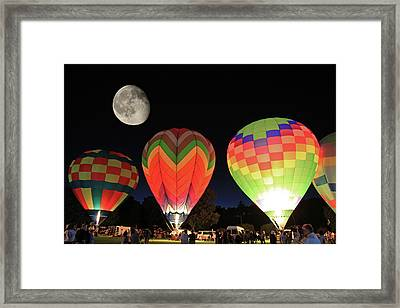 Moon And Balloons Framed Print