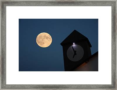 Moon And Clock Tower Framed Print