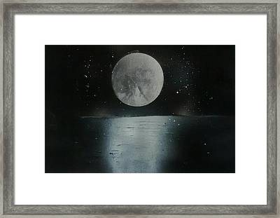 Moon And Its Reflection Framed Print by Prashant Soni