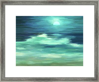 Moon And Sea Abstract Realism Framed Print