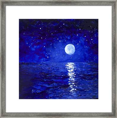 Moon And Stars Painting Framed Print by Jan Matson