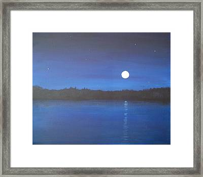 Moon And Stars Reflected Framed Print by Denise   Hoff