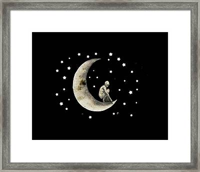 Moon And Stars T Shirt Design Framed Print
