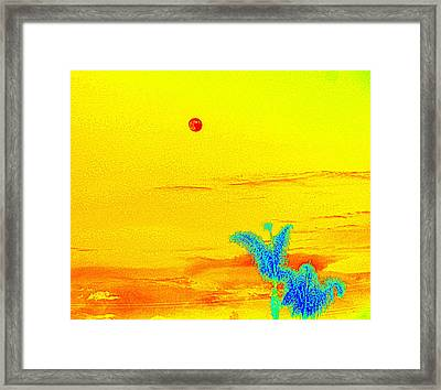 Moon And Two Palms Framed Print