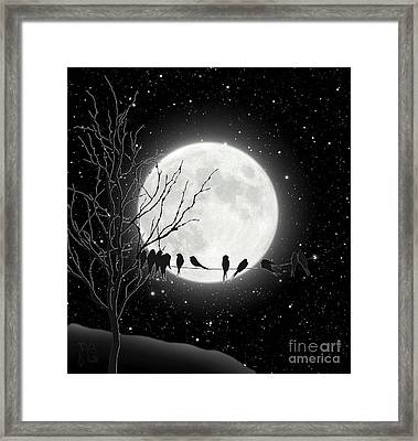 Moon Bath, Birds On A Wire Gather By A Harvest Moon Framed Print by Tina Lavoie