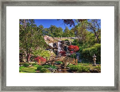 Moon Bridge And Maymont Falls Framed Print