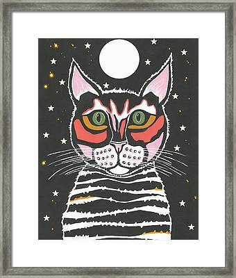 Moon Cat Framed Print