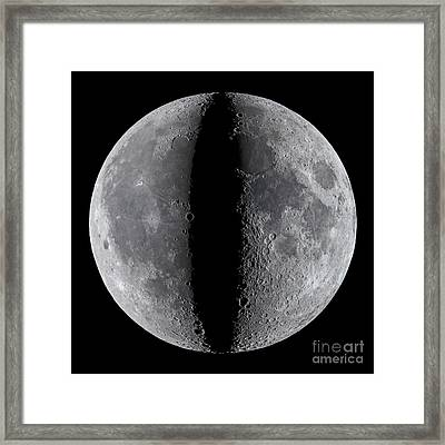 Moon Composite, First And Last Quarter Framed Print by Babak Tafreshi