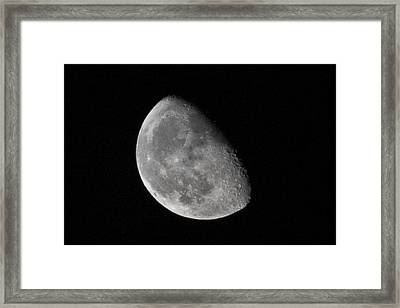 Moon Craters In Cosmic Waning Gibbous Lunar Phase Framed Print