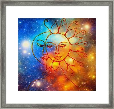 Moon Do You Love Me Asks The Sun... Framed Print
