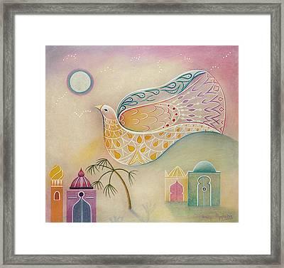 Moon Dove Framed Print by Sally Appleby