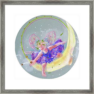 Framed Print featuring the painting Moon Fairy by Gertrude Palmer