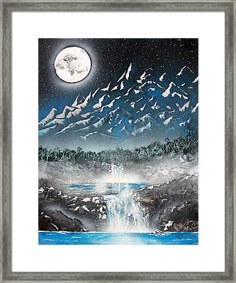 Moon Falls Framed Print by Greg Moores