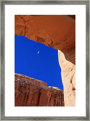 Moon Framed By Arch In Arches National Park Framed Print by Pierre Leclerc Photography