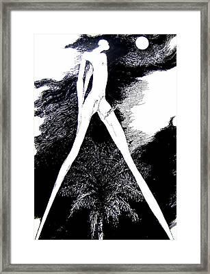 Moon Gazing Zombie Framed Print by Harold Bascom