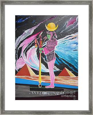 Blaa Kattproduksjoner             Moon God - Osiris Framed Print