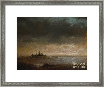 Moon In Maine Framed Print by Larry Preston