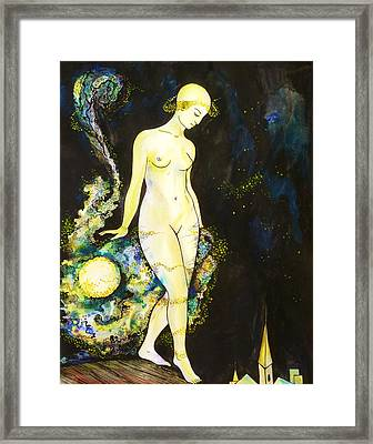 Framed Print featuring the drawing Moon Light by Anna  Duyunova