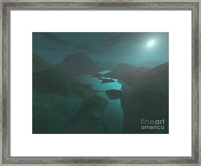 Moon Light At The Mountains Framed Print by Gaspar Avila
