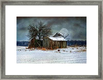Framed Print featuring the photograph Moon Light Barn by Mary Timman