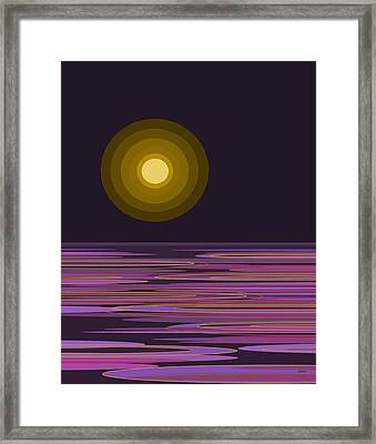 Moon Light Bay -  Purples Framed Print by Val Arie
