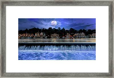 Framed Print featuring the photograph Moon Light - Boathouse Row Philadelphia by Bill Cannon