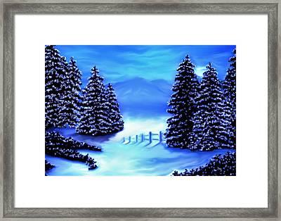 Moon Light Mountains Framed Print