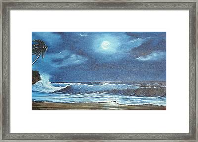 Moon Light Night In Paradise Framed Print