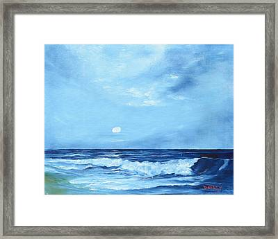 Moon Light Night Wave Framed Print