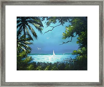 Moon Light On The The River Framed Print by Francis Roberts ll