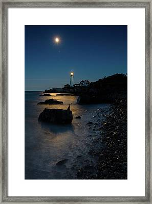 Framed Print featuring the photograph Moon Light Over The Lighthouse  by Emmanuel Panagiotakis